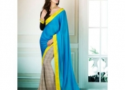 Silk rought ocean blue & yellow colored georgette printed saree
