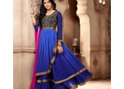 Fantasy blue colored georgette designer suit