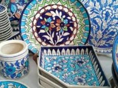 Exclusive collection of blue-pottery handicrafts