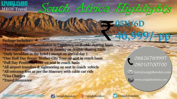 South africa package (05nights/06days) uniglobe mkov noida inr 46999 pp
