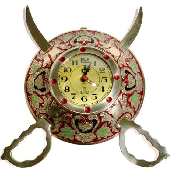 Rajasthani real brass sword armour wall clock | indian handicrafts - cheerkart