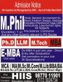 Ph.D /M.Phil /LLM / M.Tech/ MBA