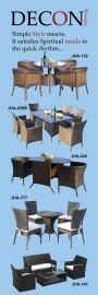 DECON designs BEST DEAL in TOWN in WICKER DINNING sets, RATTAN SOFAS, ALL Garden SWINGS