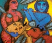 Rameshwar singh, ancient scriptures, rajasthani art, old calligraphy paintings