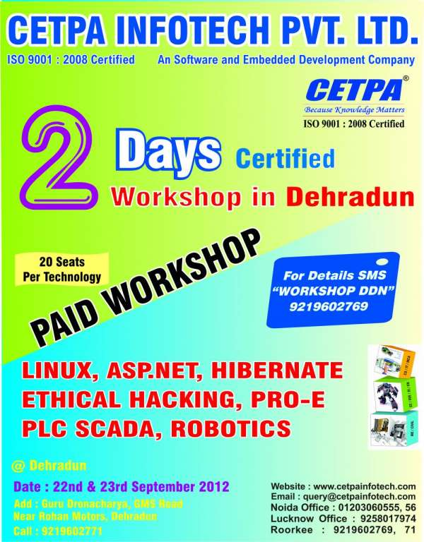 Cetpa infotech organize a paid workshop in dehradun
