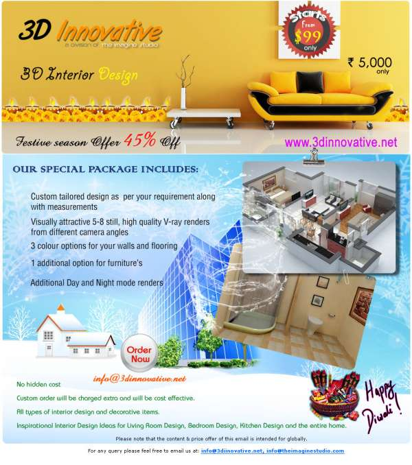 Diwali offers for 3d interior designs
