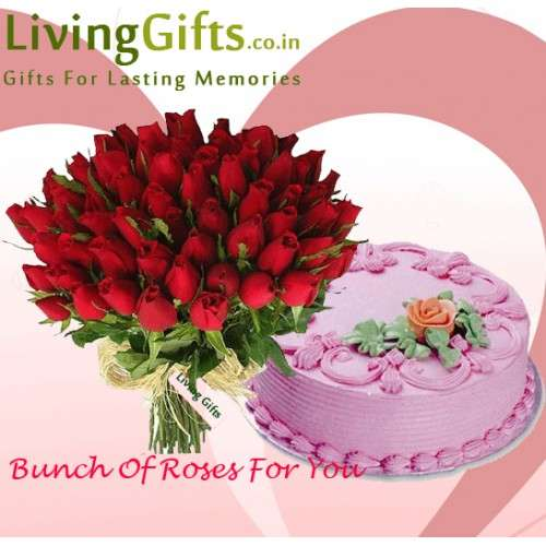 Send birthday gift strawberry cake and flower