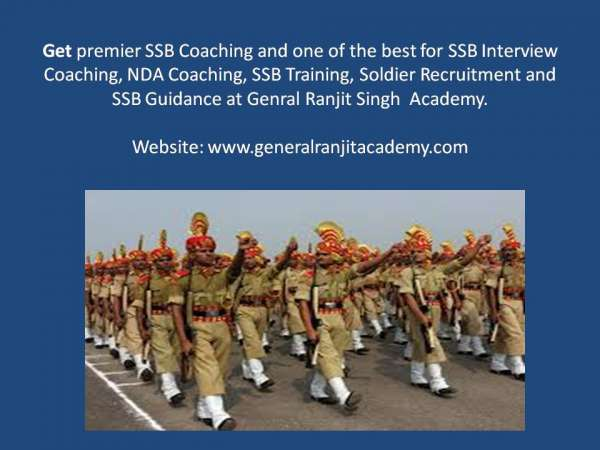 Ssb training for nda, 10+2 tes , cds, tgc, ues, jag - at general ranjit singh academy gurg