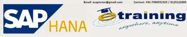 Sap hana online training by certified professional