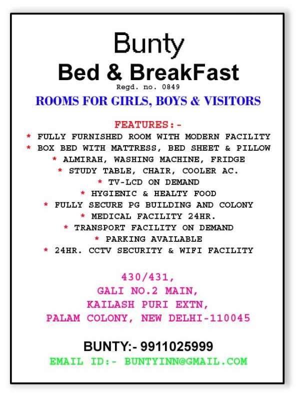 Pg in delhi at palam colony with furnished 9911025999