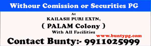 Pg in delhi without comission or securities at palam village dwarka