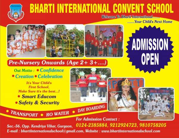 Admission open bharti international convent school,