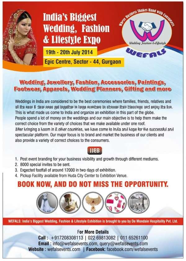 Wefals india's biggest wedding fashion & lifestyle exhibition