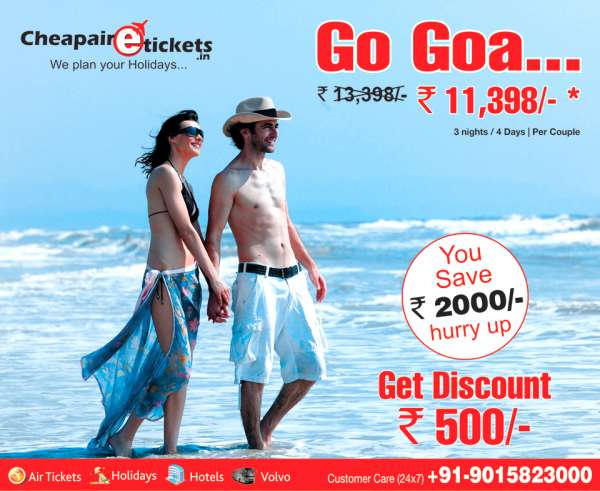 Book goa holiday packages with various deals with cheap air e tickets