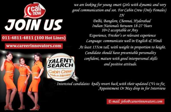 Walk in interview in delhi and is going on for cabin crew @career innovators pvt ltd