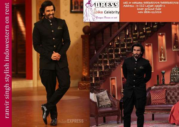 Stunning & stylish ranvir singh indowestern with baloon trousers on rent at rs 2600
