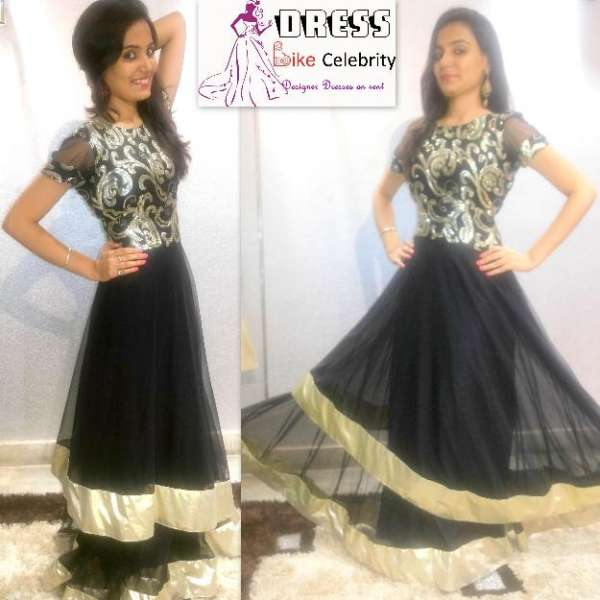 Lehnga on rent stylish black colour with work gown/dress/lehnga available on rent at rs 4