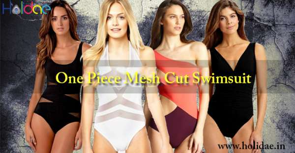 Online shopping for one piece mesh cut swimsuit on holidae