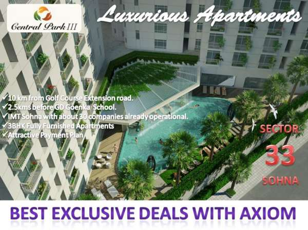 Central park 3 luxury 3bhk apartments 1550 sq.ft sector 33 sohna call @ +91 9250404177