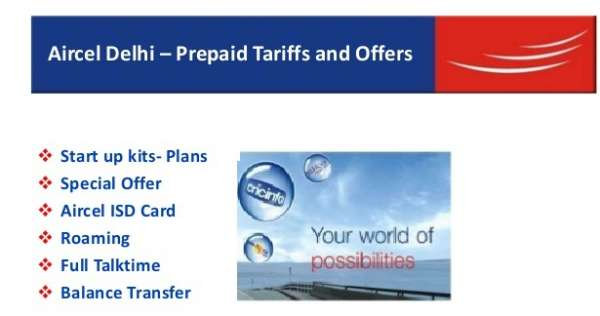 Prepaid mobile start up kits plans- aircel delhi
