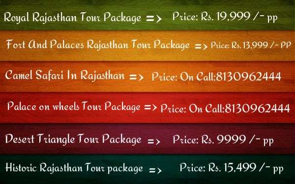 Rajasthan tour package, exclusive price: rs. 6599 /- pp