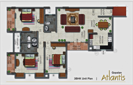 Pictures of India property : 3bhk luxury apartments in bangalore, gopalan atlantis 2