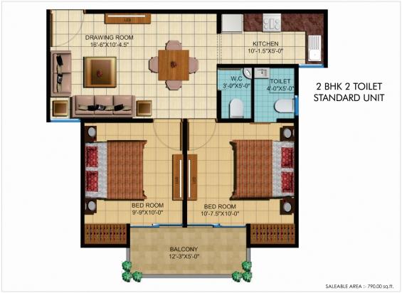 790 sqft standard unit in  gtb florenza, bhiwadi