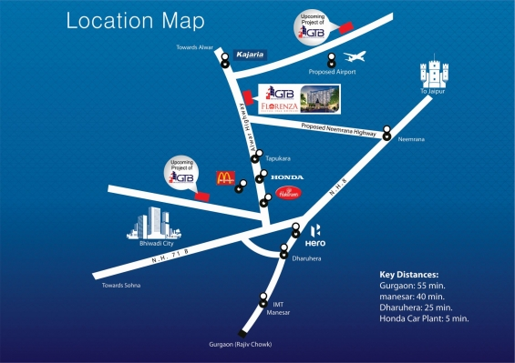 Location map of new residential project gtb florenza, bhiwadi