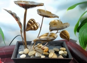 Buy attractive metal leaves led tabletop fountain