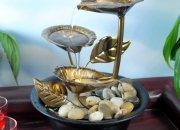 Buy natural metal leaves led tabletop fountain