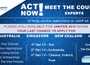 Study Abroad - Last Chance to Apply for Jan/Feb 2015 intakes