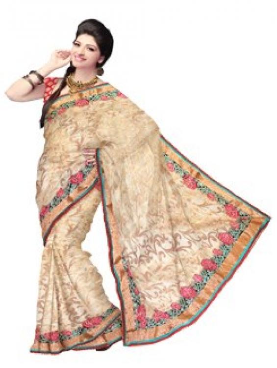 Online shopping of traditional cream pure chanderi sico saree from unnati silk