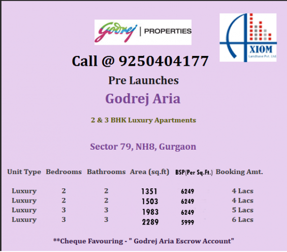 Godrej aria 2 bhk 1351 sq.ft. sector 79 gurgaon call @ +91 9250404177