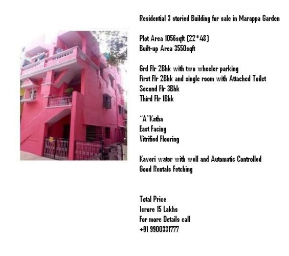 Residential 3 storied building for sale in marappa garden