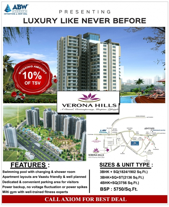Abw verona hills 1902 sq.ft call @ 9250404177 sector 76 gurgaon