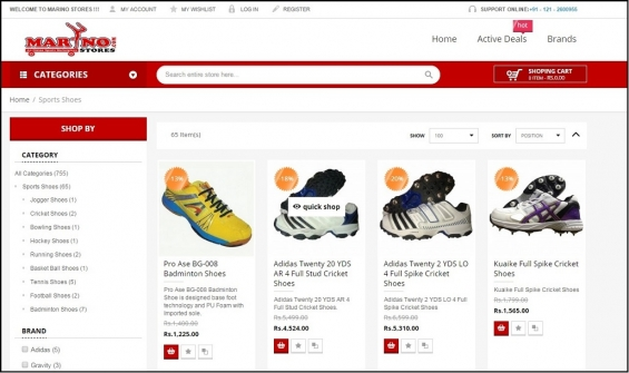Online shopping for branded sports shoes