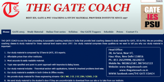 Best coaching institute for gate/ies/psu in all engineering branch in delhi