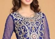 Blue polyester net churidar
