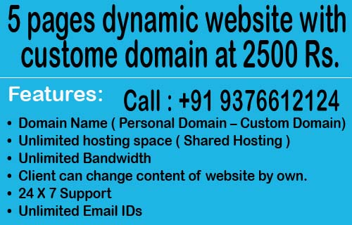 Website development or website promotion package starts at 2500 rs. in bangalore, india