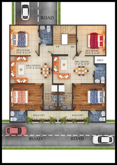 2 d floor plan with sizes
