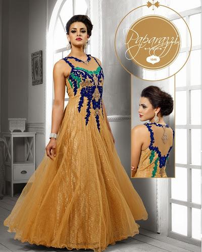 Beige & blue designer party wear gown