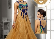 Beige & blue designer party wear gown