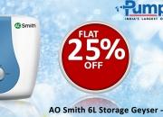 Get AO Smith 6L Storage Geyser Online - Shop at Pumpkart