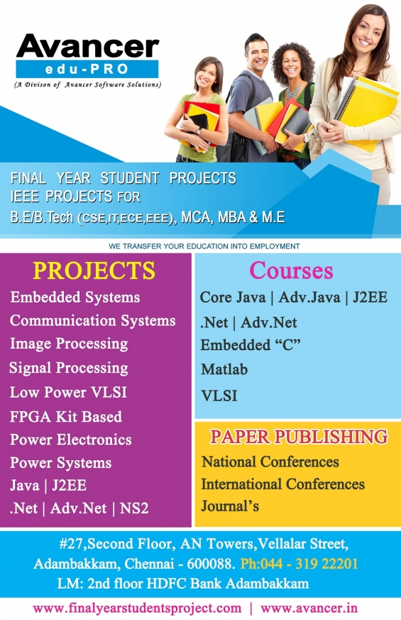 Final year ieee projects in chennai, real time projects in chennai, bangalore