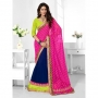 Triveni Dark Blue & Persian Rose Colored Designer Lahenga Saree