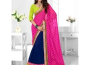 Triveni Dark Blue & Persian Rose Colored Designer Lahenga Saree