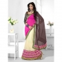 Triveni Off White Pink & Coffee Colored Designer Lahenga Saree