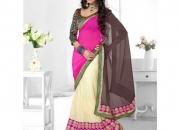 Triveni Off White Pink & Coffee Colored Designer Lahenga Saree