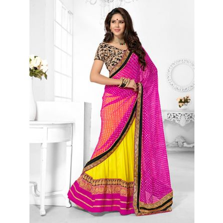 Triveni pink & yellow colored designer lahenga saree