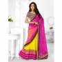 Triveni Pink & Yellow Colored Designer Lahenga Saree
